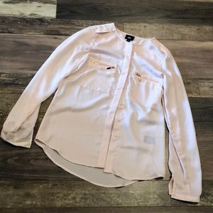 Mossimo Gorgeous Pale Pink Copper LS Blouse XS